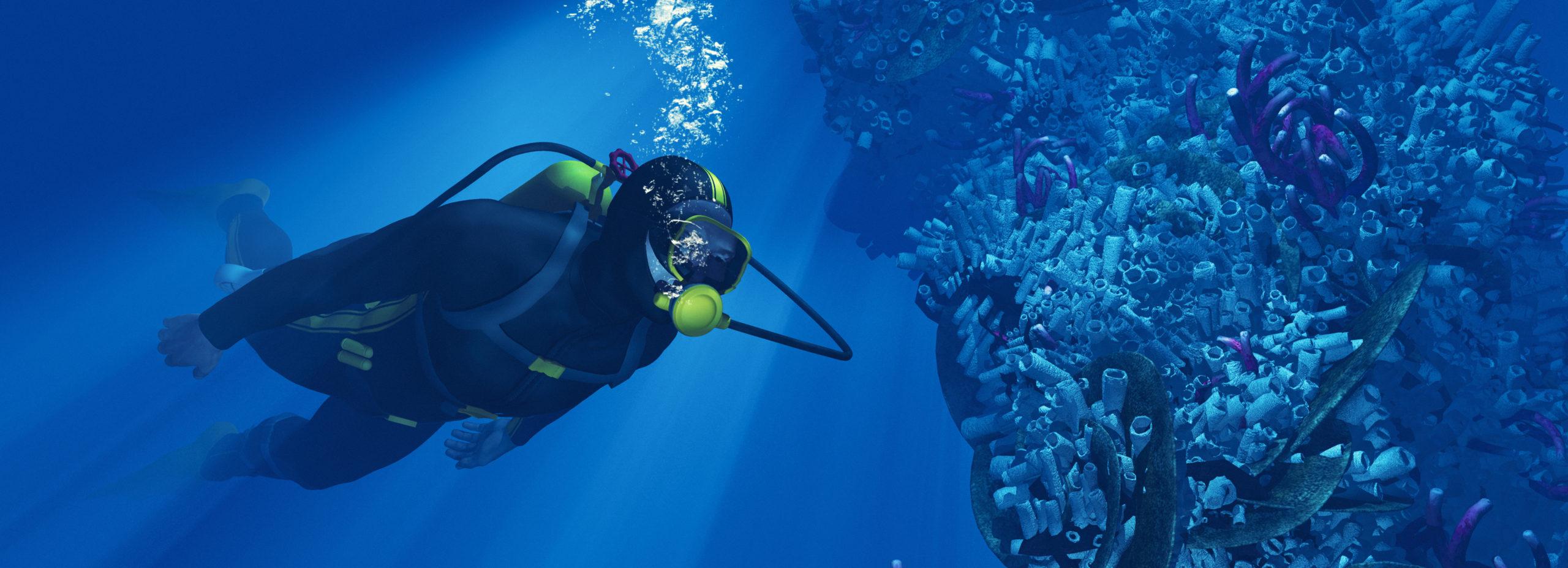Taucher mit einer Tauchmaske wirft Blasen neben Korallen