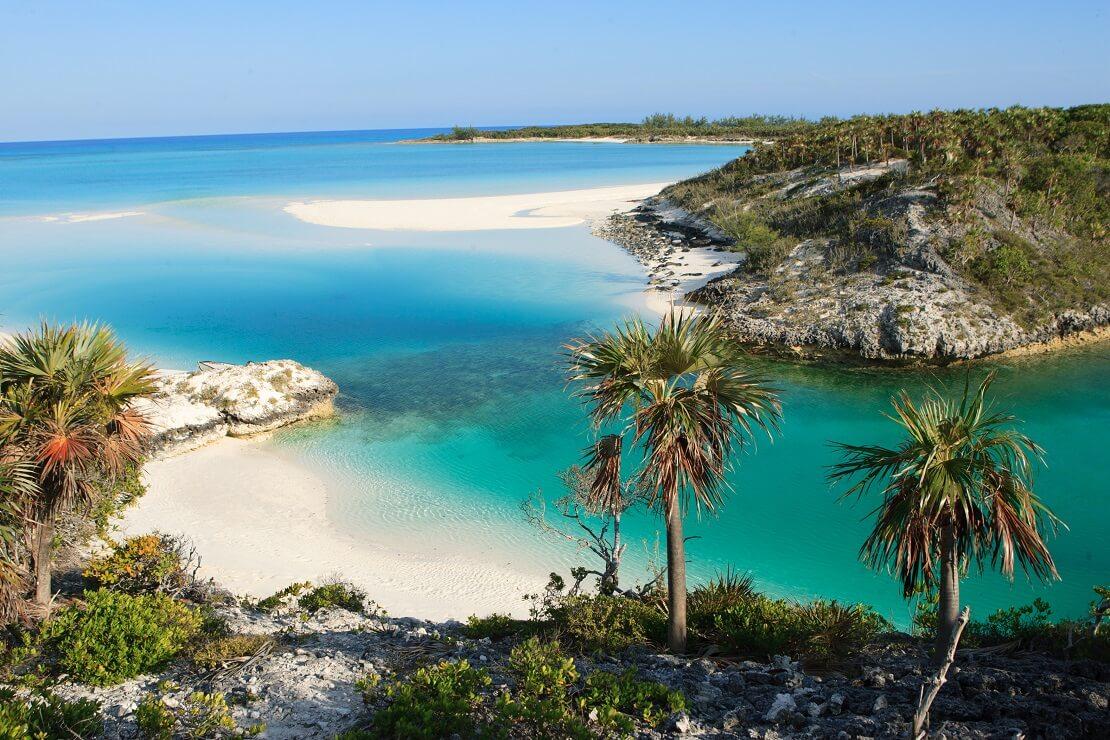 türkisblaues Meer umgeben von Palmen und einem weißen Sandstrand
