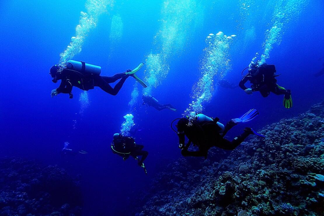 Gruppe Taucher unter Wasser