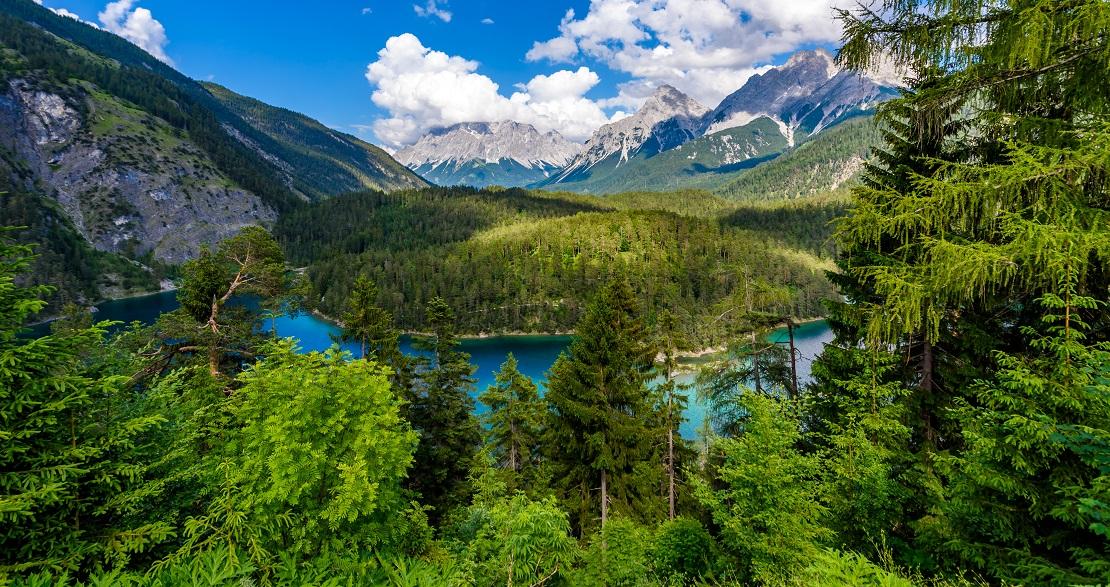 Wälder in den Bergen mit einem türkisblauen See in der Mitte