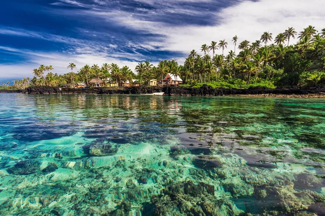 Glasklares Wasser vor der Küste von Fidschi im Hintergrund stehen Palmen