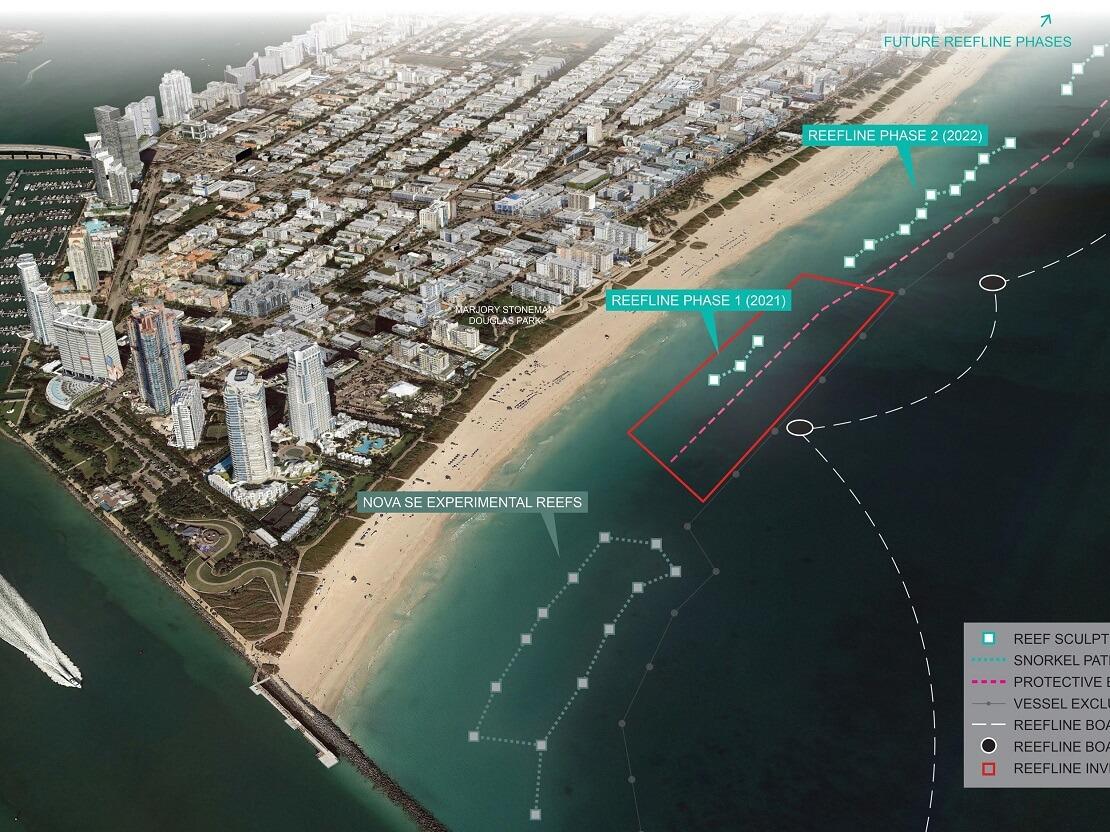 Planung des Unterwasserparks in Miami Planungsphasen mit der Stadt im Hindergrund