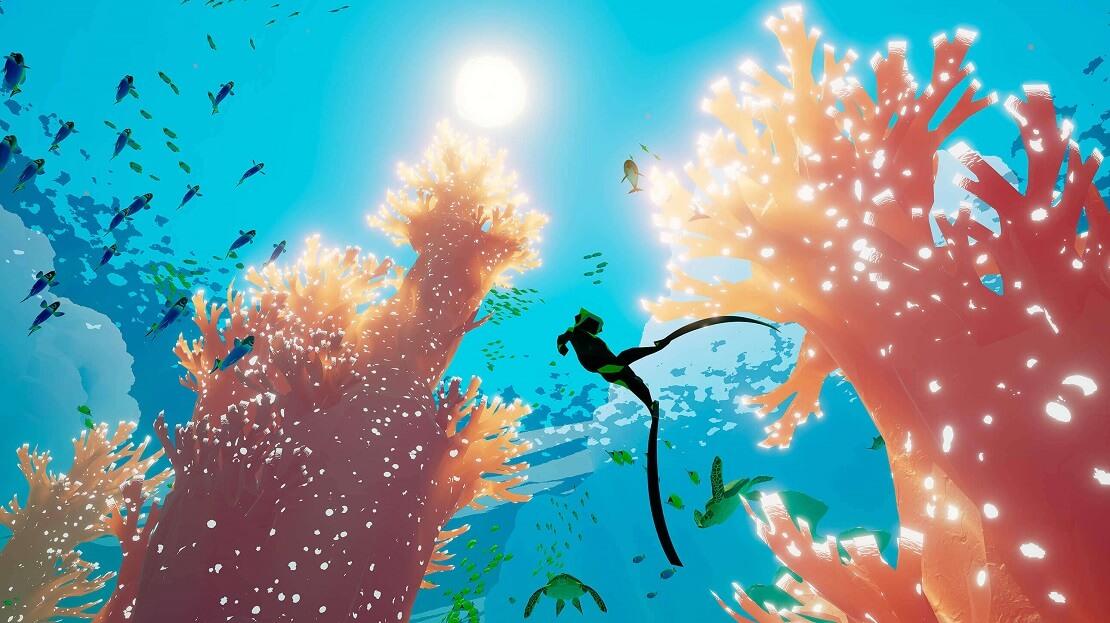 Abzu PC Spiel: Taucherin im Korallenriff