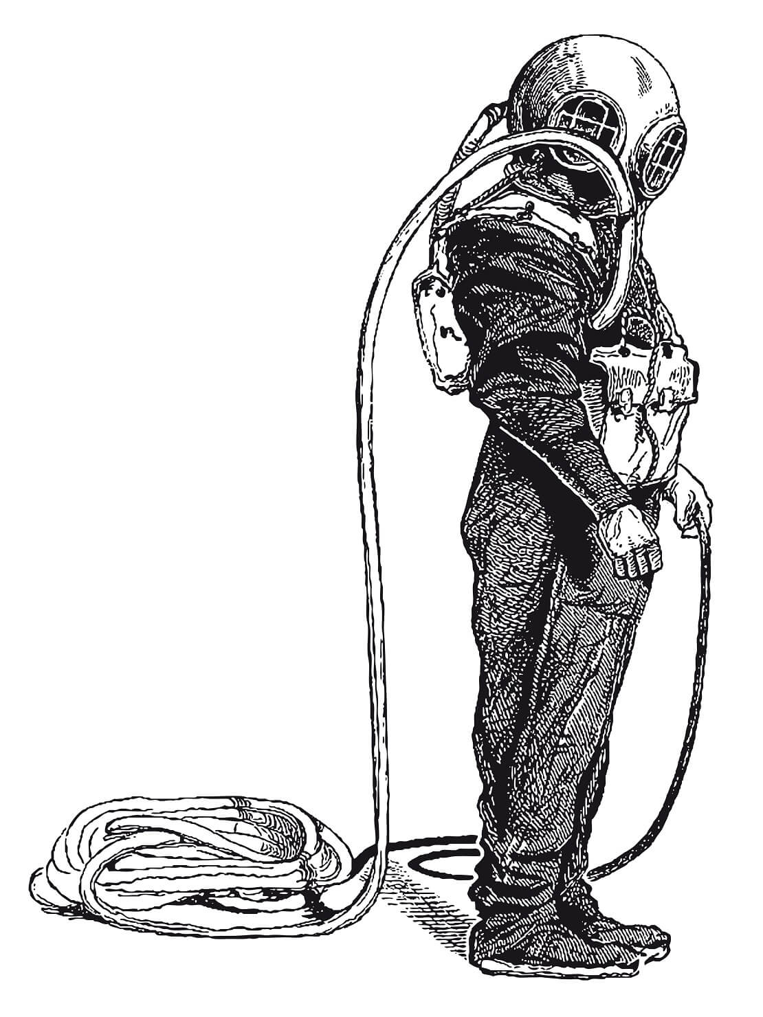 Zeichnung eines alten Tauchanzuges