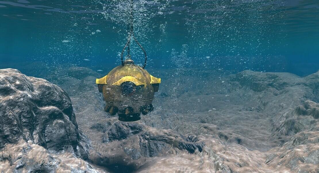 Bathysphäre unter Wasser