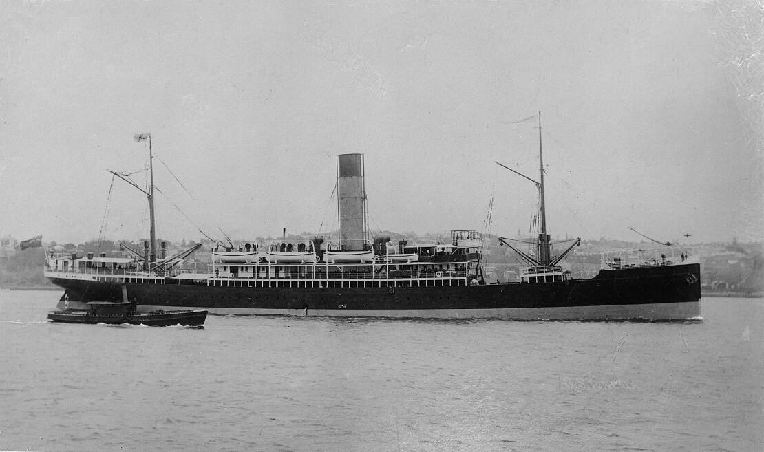 Schwarz-weiß Aufnahme der SS Yongala