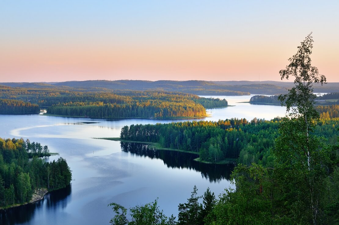 Der Horizont über die Wälder und Gewässer Finnlands